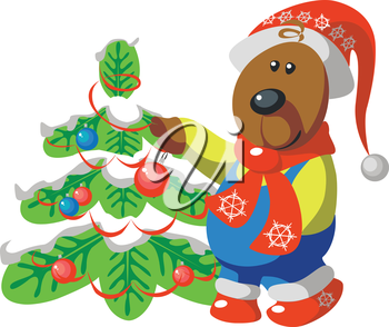 Vector. Bear with tree color 08