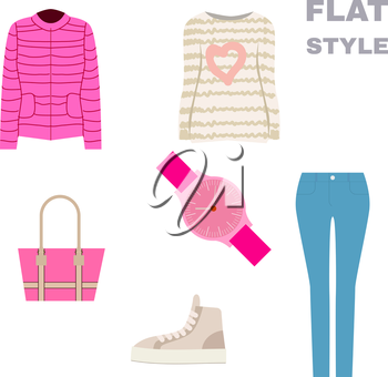 Flat Style. Womans Look. Fashion wear. Vector illustration