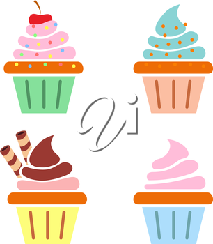 Muffin web icons. Flat design. Vector illsutration