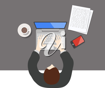 Flat style office worker business management on the table in top view vector illustration