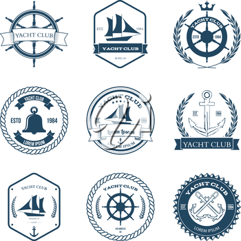 Set of Yacht Club Labels Design Elements Vector Illustration