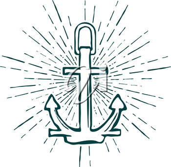 Vintage Marine Anchor isolated engrave. Vector illustration