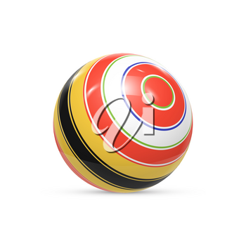 Striped ball. 3d Sphere with Texture. Ball isolated on white background. Vector illustration