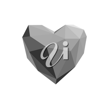 Polygonal heart. Low poly, valentines day Vector illustration