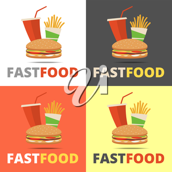 Fast food restaurant menu with burger, french fries and drink
