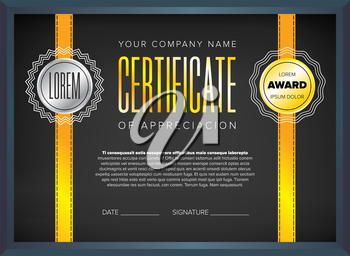 Black certificate design with red ribbon and bow