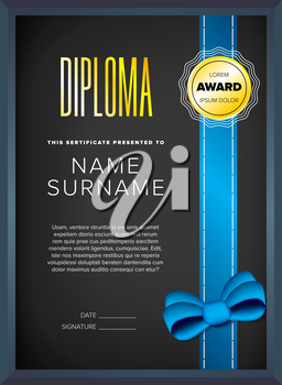 Diploma, certificate design template with seal and ribbon