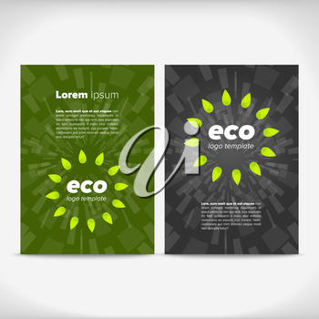 Eco leaflet design with green and black backgrounds