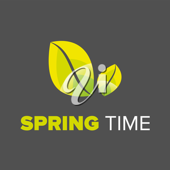 Spring time typographic design on a black background