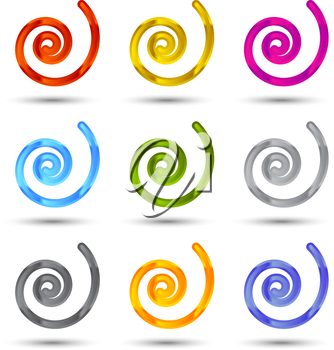 Set of spiral and swirls logo design elements, icons, symbols and signs.