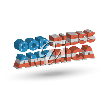 God Bless America three dimensional sign with shadow