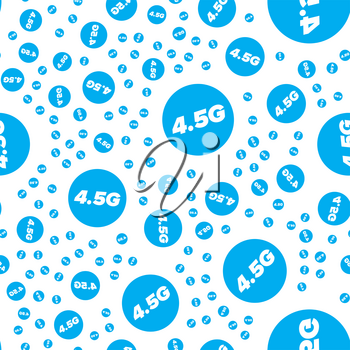 Blue 4.5G seamless pattern on a white background