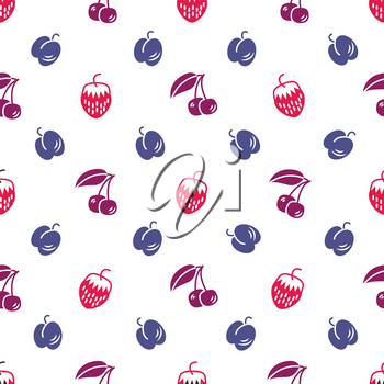 Color Berries seamless pattern on white background