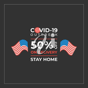 Delivery discount during pandemic. Vector sale banner