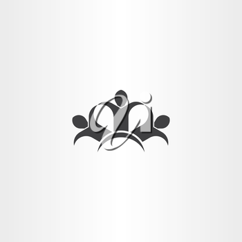 people holding hands friends icon black vector