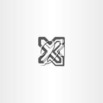 black x letter symbol logo sign vector