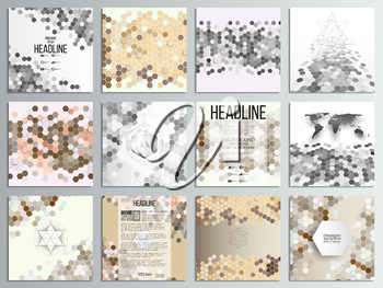 Set of 12 creative cards, square brochure template design, geometric backgrounds set, abstract hexagonal vector patterns.