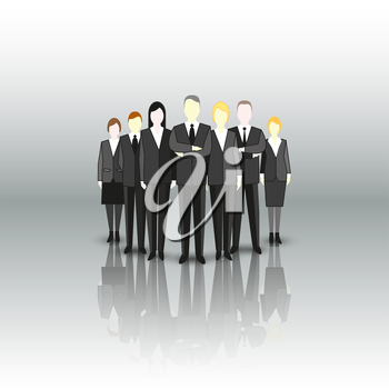 Group of a professional business team. Characters are standing over a gray background. Vector illustration.