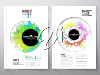 Abstract circle black banners with place for text and watercolor stains. Business vector templates for brochure, flyer or booklet.