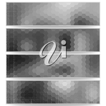 Abstract hexagonal headers set, blurred design vector.