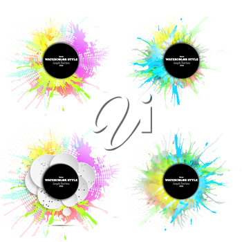 Set of abstract circle white banners with place for text and watercolor stains. Colorful backgrounds, business vector patterns for your design.