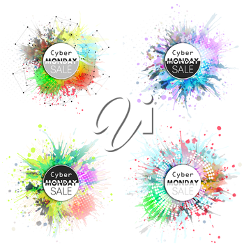 Cyber monday banners set, colorful desing elements for your desing, vector illustration.
