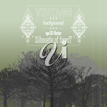 Vintage forest background with tribal style frame and place for text. Vector illustration.