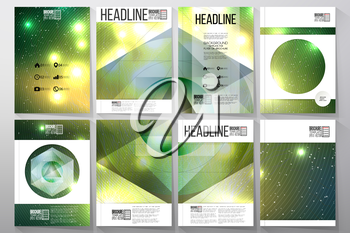Set of business templates for brochure, flyer or booklet. Abstract multicolored background with bokeh lights and stars. Scientific digital design, science vector illustration.