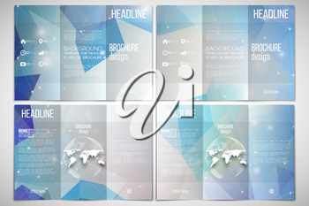 Vector set of tri-fold brochure design template on both sides with world globe element. Abstract multicolored background, digital style vector illustration.