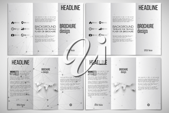 Vector set of tri-fold brochure design template on both sides with world globe element. Molecular structure design, scientific vector background.