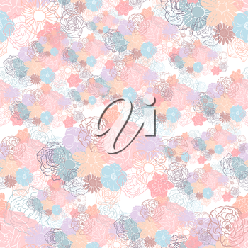 Hand drawn floral doodle background, abstract vector seamless pattern.