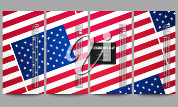 Set of modern vector flyers. Presidents day background with american flag, abstract vector illustration