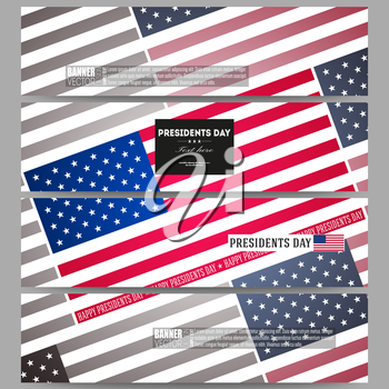 Set of modern vector banners. Presidents day background with american flag, abstract vector illustration.