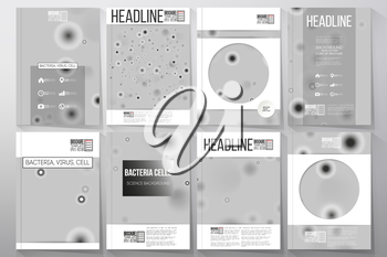Set of business templates for brochure, flyer or booklet. Molecular research, illustration of cells in gray, science vector background.