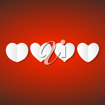 White paper hearts, Valentines day card on red background, vector illustration.
