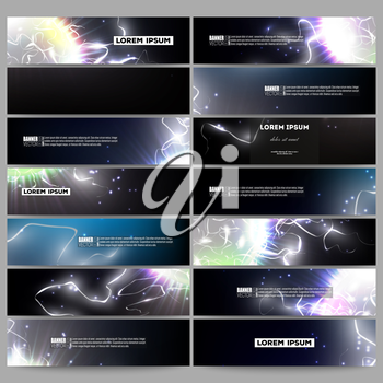 Set of modern vector banners. Electric lighting effect. Magic vector background with lightning.