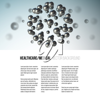 Medical scientific cell. Abstract graphic design of molecule structure, vector background for brochure, flyer or banner.