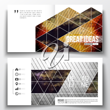 Set of annual report business templates for brochure, magazine, flyer or booklet. Abstract colorful polygonal background, modern stylish triangle vector texture.