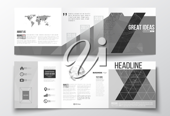 Vector set of tri-fold brochures, square design templates. Microchip background, electrical circuits, construction with connected lines, scientific or digital design pattern on gray background.