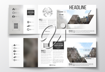 Vector set of tri-fold brochures, square design templates with element of world globe. Polygonal background, blurred image, urban landscape, modern stylish triangular vector texture.