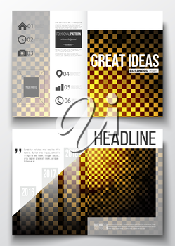 Set of business templates for brochure, magazine, flyer, booklet or annual report. Abstract polygonal background, modern stylish square design golden vector texture.