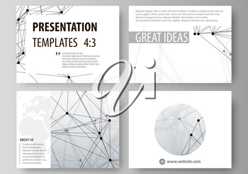 Set of business templates for presentation slides. Easy editable abstract vector layouts in flat design. DNA and neurons molecule structure. Medicine, science, technology concept. Scalable graphic