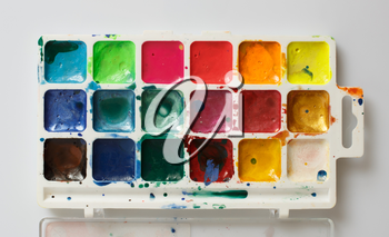 Closeup of water-color paint-box