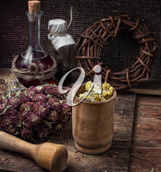 dried herbs for traditional medicine in the rural style.Selective focus