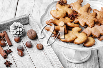 Home baking Christmas cookies in bright white vase