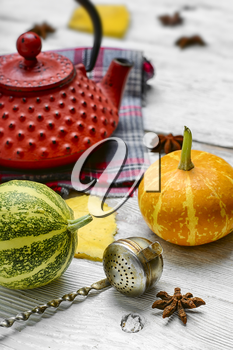 Red iron kettle,falling leaves and pumpkins on bright background
