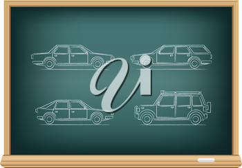 The school blackboard and chalk drawn types of cars