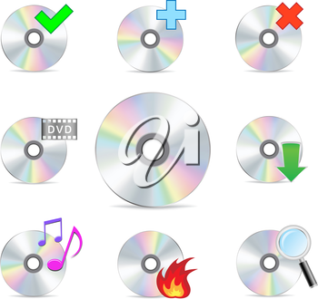 cd dvd mesh disc icon set isolated on the white background
