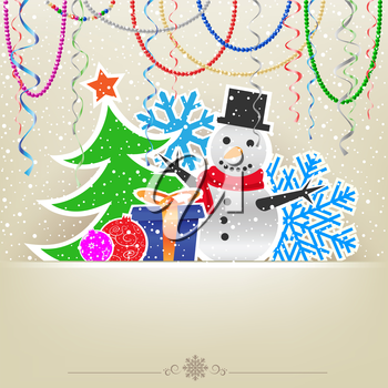 Christmas cartoon card with snowman, fir-tree, bauble, present, hanging baeds and ribbons on the light snow mesh background