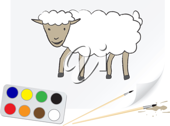 The sheep is drawn on a paper by a brush